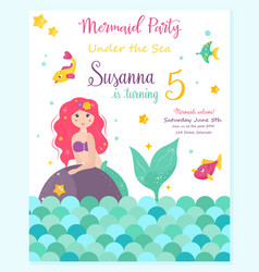 Bright invitation card with cute fairy mermaid vector