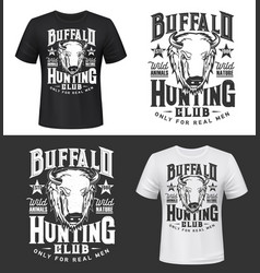 buffalo bull hunting club t-shirt print mockup vector image