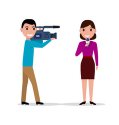 cameraman filmed woman journalist with microphone vector image
