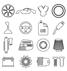 Car parts store simple black outline icons set vector