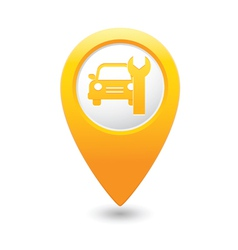 car service icon on yellow map pointer vector image