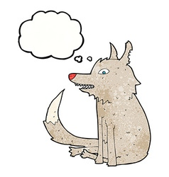 Cartoon wolf sitting with thought bubble vector