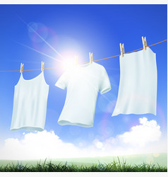 clothes hanging on the rope vector image