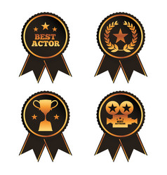 Collection rosette award trophy laurel projector vector