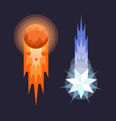 Comets in cartoon style on dark background vector