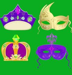 Crown and masks for Carnival Mardi Gras masks vector image