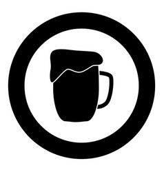 cup beer icon black color in circle vector image
