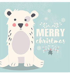 Cute polar bear and Merry Christmas lettering vector