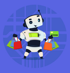Cute robot hold credit card mobile payment online vector