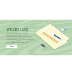 Desk with sheet of paper pencil ruler eraser flash vector