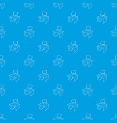 desktop with computer pattern seamless blue vector image