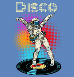 disco woman astronaut dancing vector image