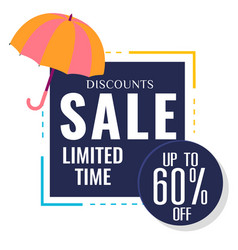 discounts sale limited time up to 60 off umbrella vector image