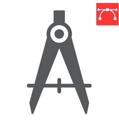 Divider glyph icon compass and architect divider vector