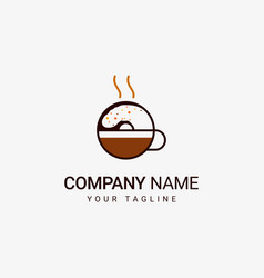 donuts coffee logo vector image