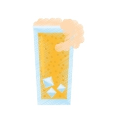 Drawing glass cup drink foam ice vector