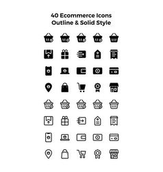 Ecommerce icons in solid and outline style vector