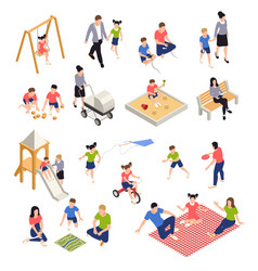 Family playing isometric icons set vector