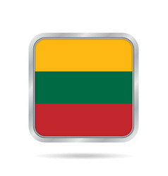 Flag of lithuania metallic gray square button vector