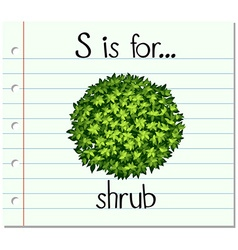 Flashcard letter S is for shrub vector