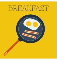 Flat breakfast with scrambled eggs and vector