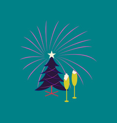 flat on background of christmas tree champagne vector image