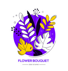 flower bouquet - modern flat design style vector image