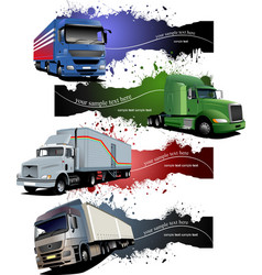 four grunge banners with colored trucks vector image