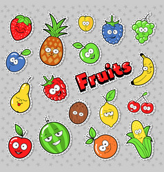 funny fruits emoticons badges patches stickers vector image