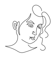 Girl face portrait or avatar outline drawing vector