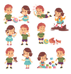good and bad kids playing peacefully and vector image