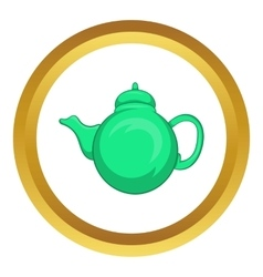 Grean teapot icon vector