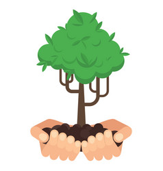 hands with tree vector image vector image