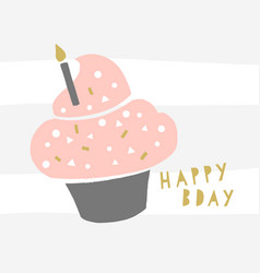 happy birthday cupcake greeting card trendy vector image