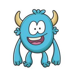Happy smiling cartoon furry creature monster vector
