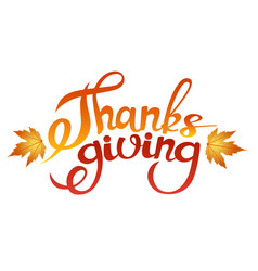 Happy thanksgiving brush hand lettering isolated vector