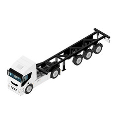 Heavy transport truck without container isometric vector