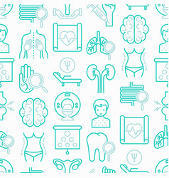 Hospital seamless pattern with thin line icons vector