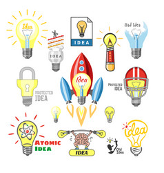idea lamp light bulb ideal icon solution vector image