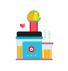 Juicer and fresh fruits and vegetables making vector