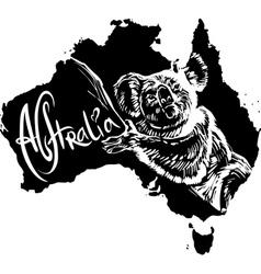 Koala Phascolarctos cinereus on map of Australia vector image