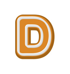 Letter d gingerbread peppermint honey-cake font vector