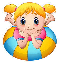 Little girl cartoon lay down above an inflatable r vector