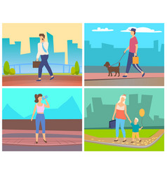 man and woman going in city people leisure vector image