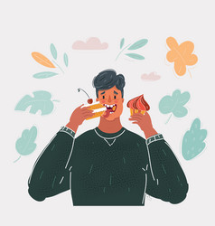 man eating cakecs vector image