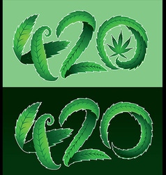 Marijuana leaf symbol and 420 hemp text vector