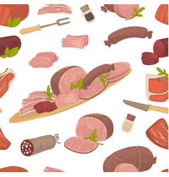 meat food steak and sausages with spice in glass vector image