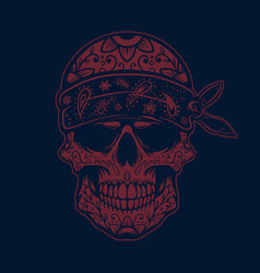 Mexican sugar skull in bandana design element for vector