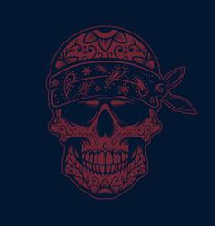 mexican sugar skull in bandana design element vector image