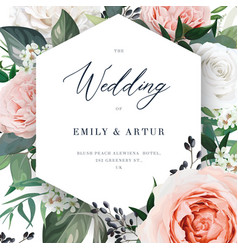 modern floral wedding invite card template card vector image
